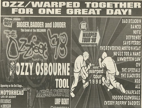 07/18/98 Ozzfest/ Vans Warped Tour @ Float-Rite Amphitheatre, Somerset, WI (Top Ad)