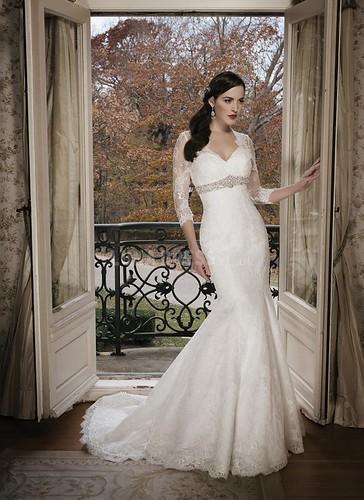 Modest Mermaid Queen Anne Lace Empire Waist 3/4 Length Sleeve Wedding Gown