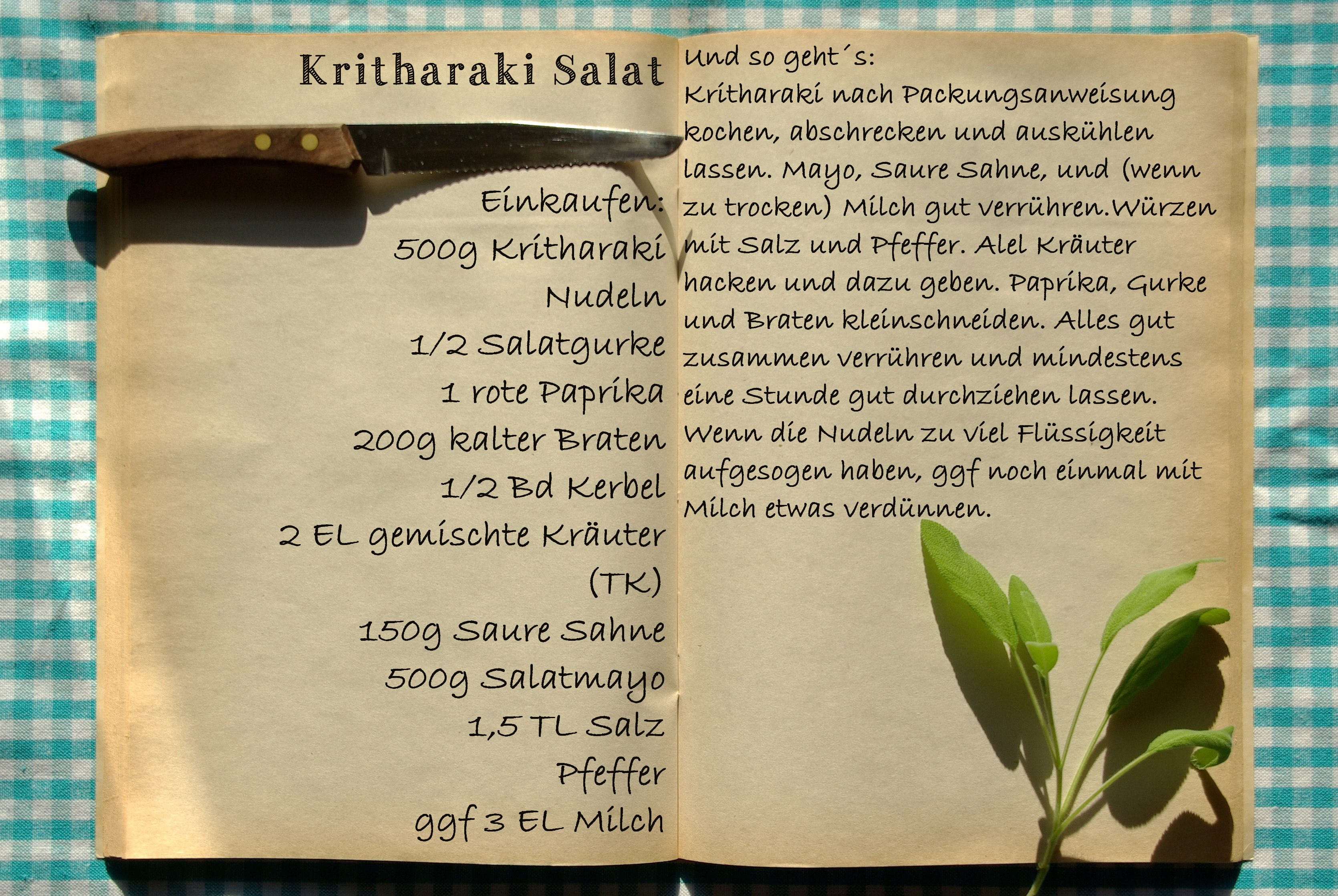 Einkaufszettel Kritharaki Salat by Glasgefluester