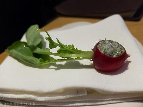 Radish, kelp butter, Maldon salt