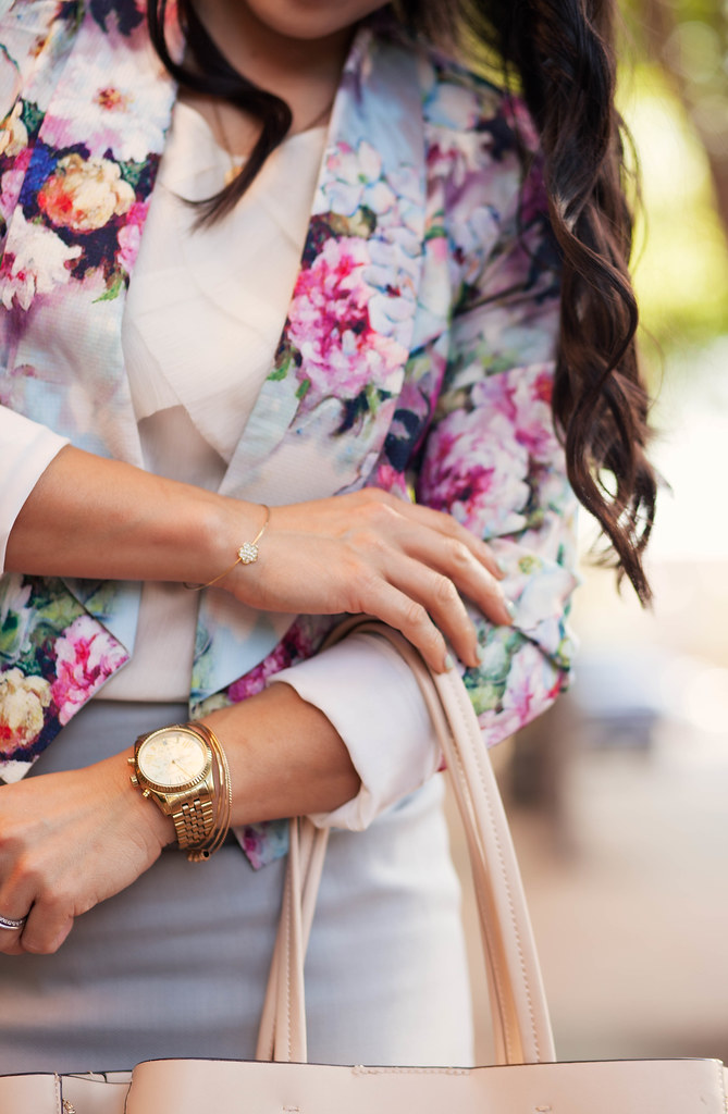 cute & little blog | petite fashion | asos petite floral cropped jacket, white chiffon blouse, j.crew light gray pencil skirt, initial necklace, nude leather tote | spring pastel outfit