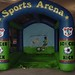 Test your speed by kicking a soccer ball into the inflatable goal.