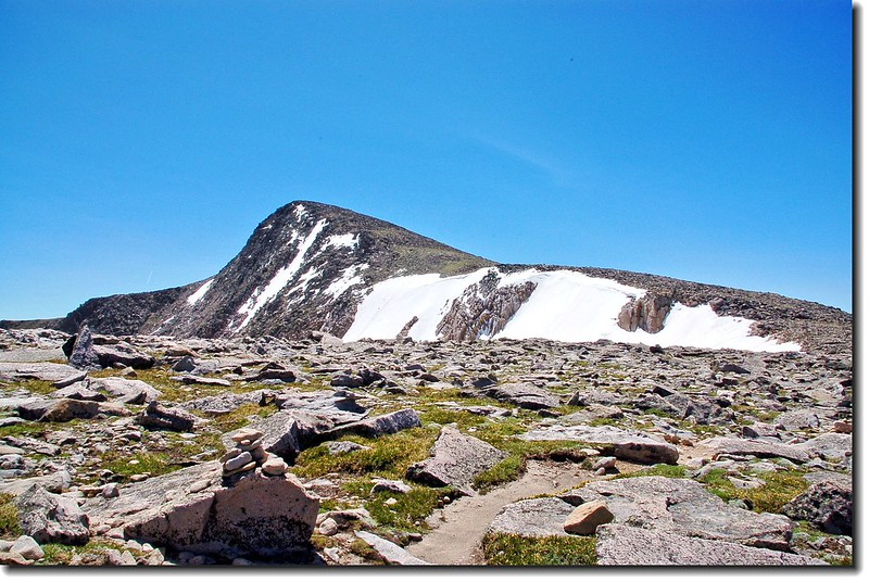 The summit pyramid of Hallett Peak as seen from Flattop 2