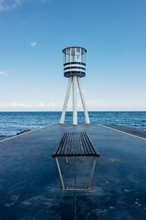 Image of Bellevue Strand near Charlottenlund. beach copenhagen bench denmark pier klampenborg øresund bellevuestrand