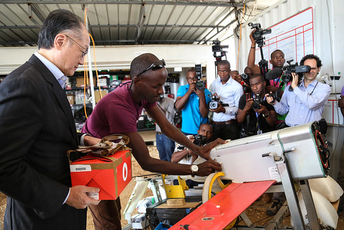 World Bank President Jim Yong Kim, visits the site of Zipline in Muhanga