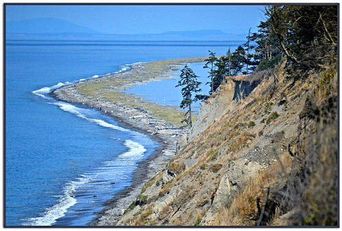 109 straitofjuandefuca beach water dungenessrecreationarea camping nature seascape mountains islands bluff cliff trees grass fence sequim washington usa trail blue olympicpeninsula dungenessspit sanjuanislands waves seashore sea pacificnorthwest