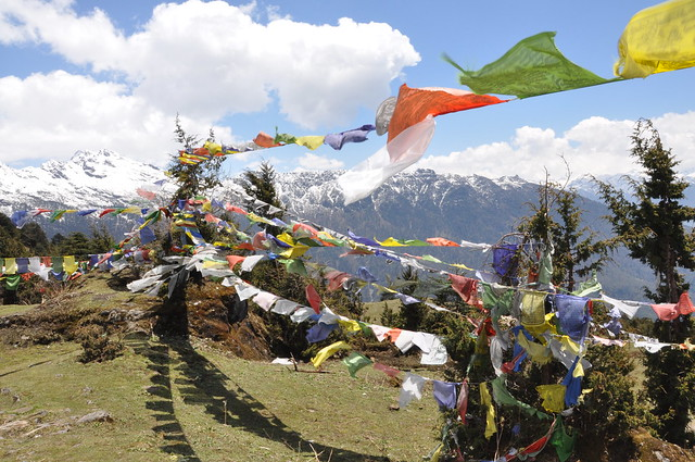 """Leave for now, but carry with you a prayer in the wind and peace in your heart - The Tibetan word for prayer flag is Dar Cho, 'Dar' means to increase life, fortune, health and wealth; """"Cho"""" means all sentient beings - silent blessings on the breath of nature!"""