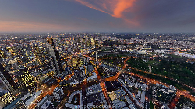 High above Melbourne at sunset.