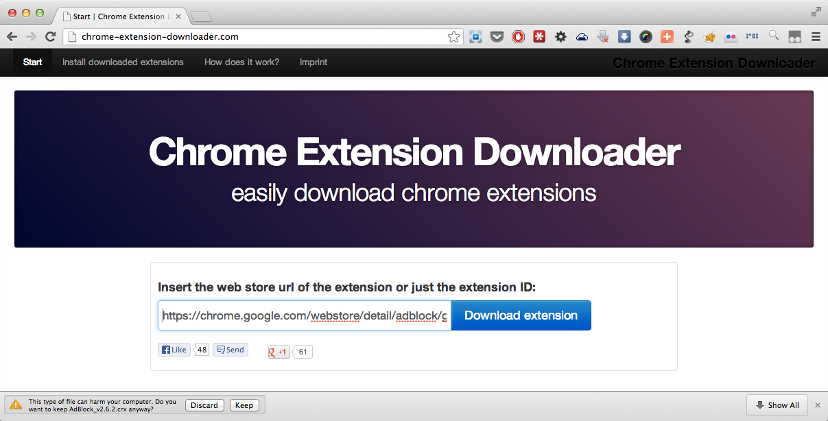 Chrome Extension Downloader on Action