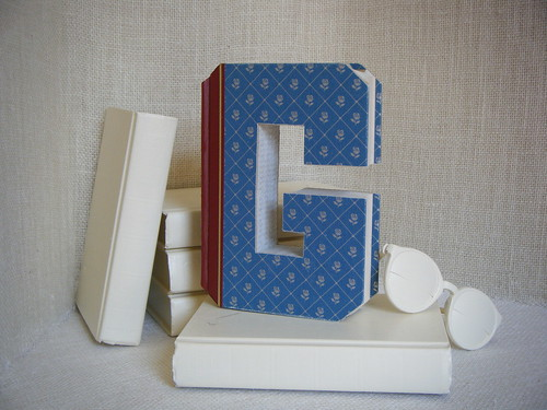 ALPHABET LETTER (G)  Book Art, OoAK, Shabby Chic Home Decor, UPcycled  REcycled REpurposed, Altered Book, Engagement Gift, Bookshelf Decor
