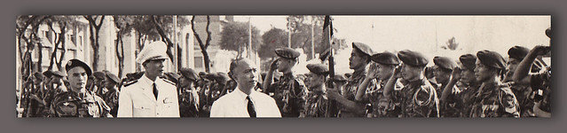 1958 - Vice President Nguyen Ngoc Tho reviewing troops