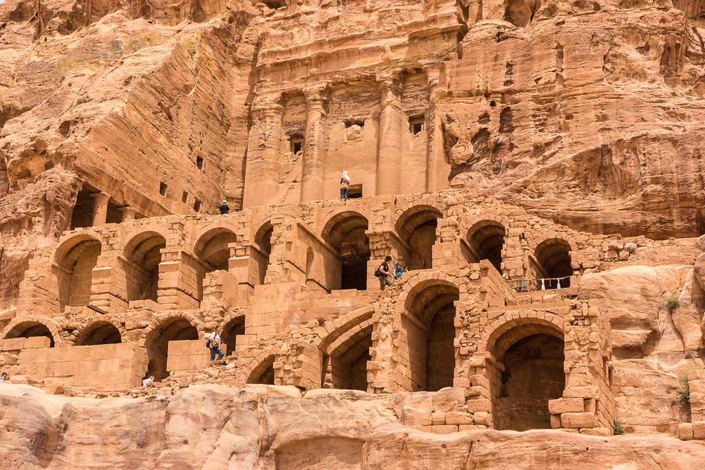 A Grand Building Carved Into The Stone In Petra, Jordan