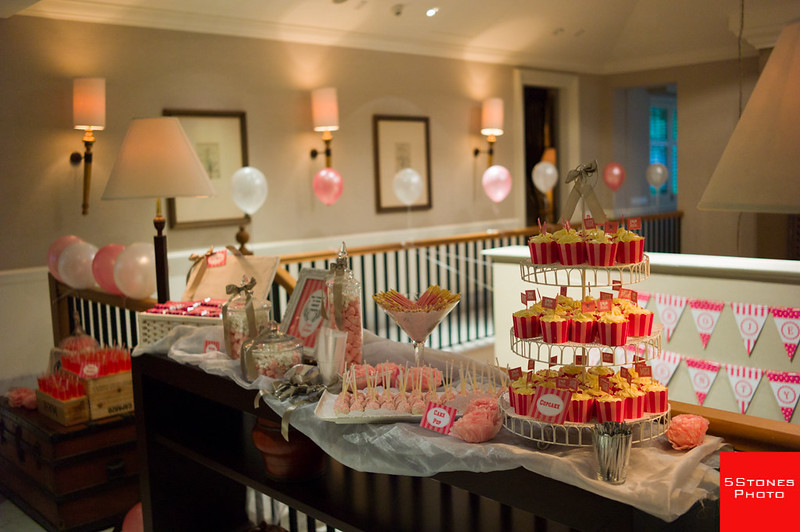 Guests entering the manor were greeted with a pink themed candy table!
