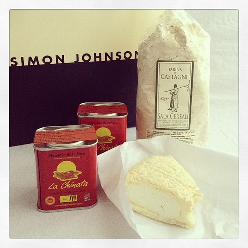 #latergram of my spoils from a Simon Johnson outing last weekend - holy goat cheese, hot and bitter-sweet paprika, chestnut flour