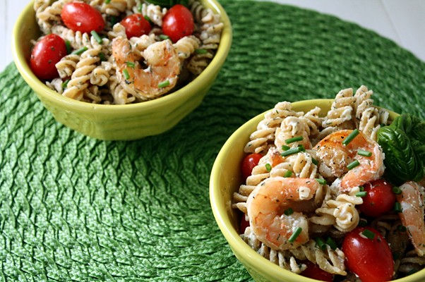 9470207270 07d648d4be z A Weekend Quickie: Shrimp Pasta Salad with Herbs, Tomatoes, and Goat Cheese