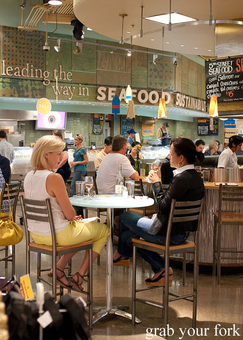 seafood and wine bar at whole foods market flagship store supermarket groceries austin texas
