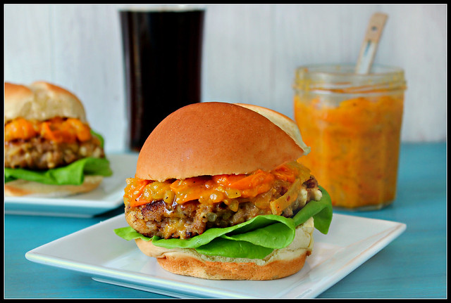 Turkey Burger with Tomato Onion Jam