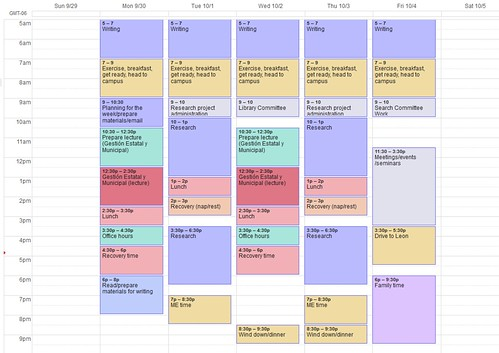 My academic weekly schedule