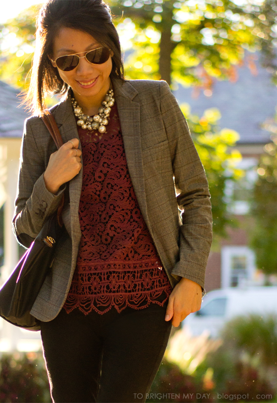 gray plaid blazer, burgundy lace top