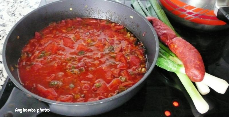 Tomato-chorizo-spring onion sauce with spaghetti