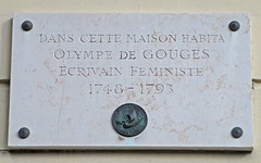 Photo of Olympe de Gouges white plaque