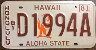 HAWAII 1981 ---HONOLULU DEALER LICENSE PLATE