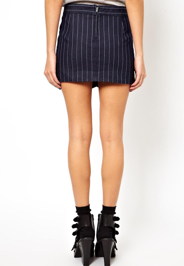 ASOS Denim Envelope Skirt with Zip Detail in Pinstripe