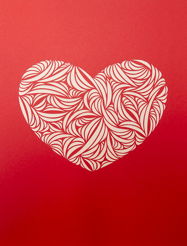 Heart paper cut work