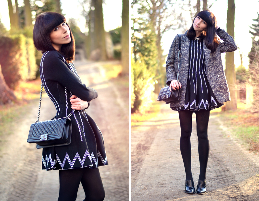 Chicwish dress Chanel Le Boy bag H&M coat wings necklace spring outfit ootd look CATS & DOGS fashion blog Berlin 2