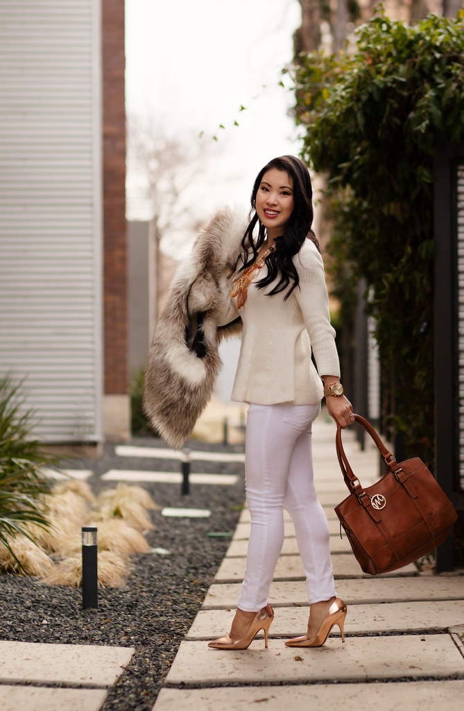 cute & little blog   spring white   fur vest, flutter sweater, white jeans, kate spade gold heels, teteo statement necklace outfit
