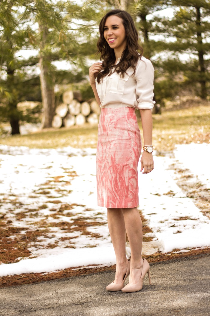 va darling. dc blogger. virginia personal style blogger. dc style. printed skirt. nude heels. white silk blouse. 5