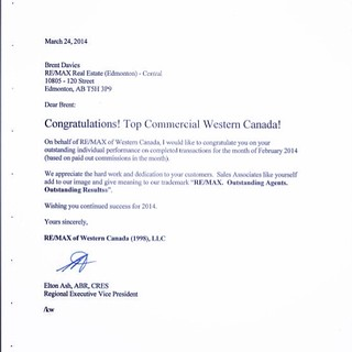The great letter dad and I got. Top commercial #REMAX in western Canada.