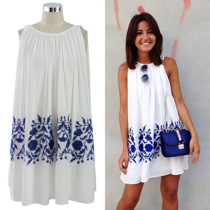 vestido blanco azul lovely pepa