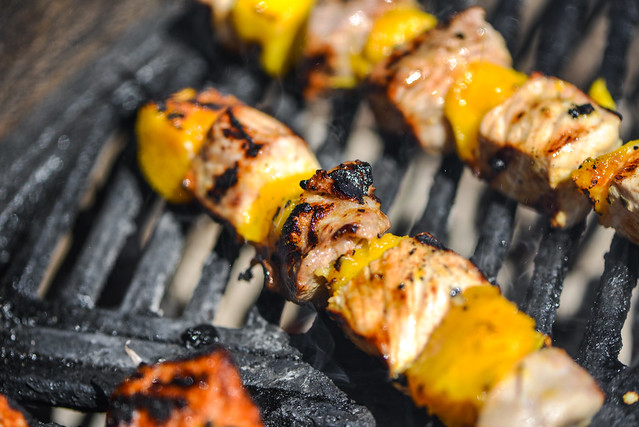 Mojo-Marinated Pork Kebabs With Mango