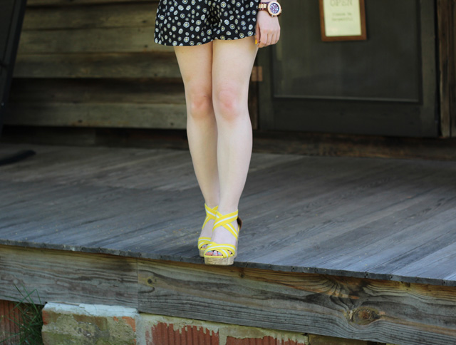 Yellow Wedge Sandals, Jord Wood Watch and Patterned Shorts