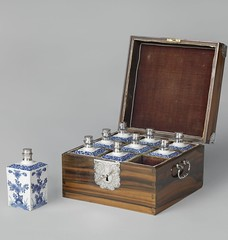 This wooden chest containing nine porcelain bottles once held expensive aromatic oils. I love objects like these because they almost always tell a story. This one was apparently used as a bribe to an important Indian official, commissioned by The Dutch Ea