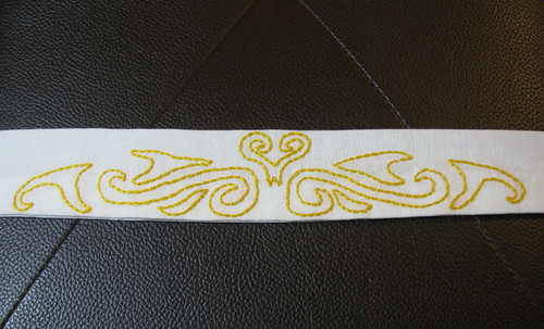 Gold and white embroidered headband