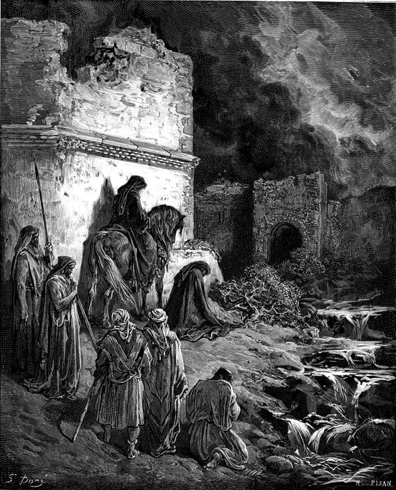 Las ruinas de la ciudad tras la conquista. Gustave Doré (1832-1883). Litografía