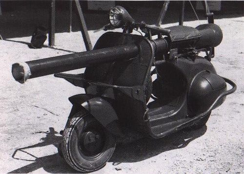 Armoured Vespa scooter with cannon