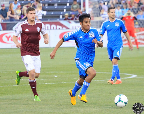 Dillon Powers (Rapids), Rafael Baca (Earthquakes), Colorado Rapids vs San Jose Earthquakes 15 June 2013 by Corbin Elliott Photography