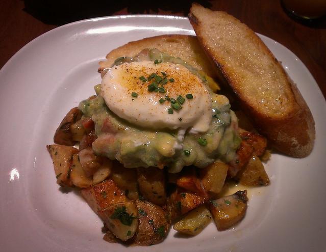 Dungeness Crab Cake & Potato Hash w/ Avocado Salsa, Poached Egg ...