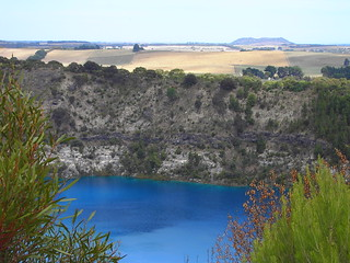 Blue Lake Mt Gambier South Australia. It is in an old volcanic cone. It changes to vivid blue in November because of the salts in the water and reverts to dull grey again in April.