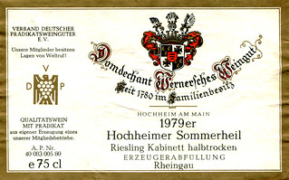 Hochheimer Sommerheil Riesling 1979 (Rhine)