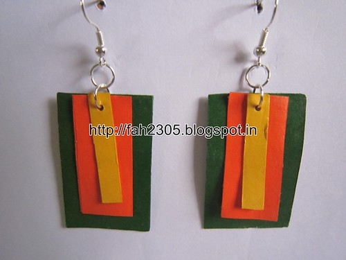 Handmade Jewelry - Paper Square Piece Earrings (4) by fah2305