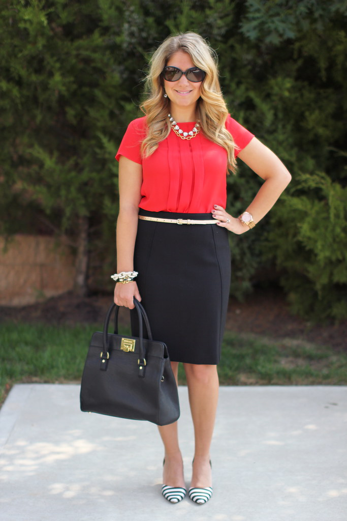 Corporate Pirate: red blouse black skirt striped pumps work outfit