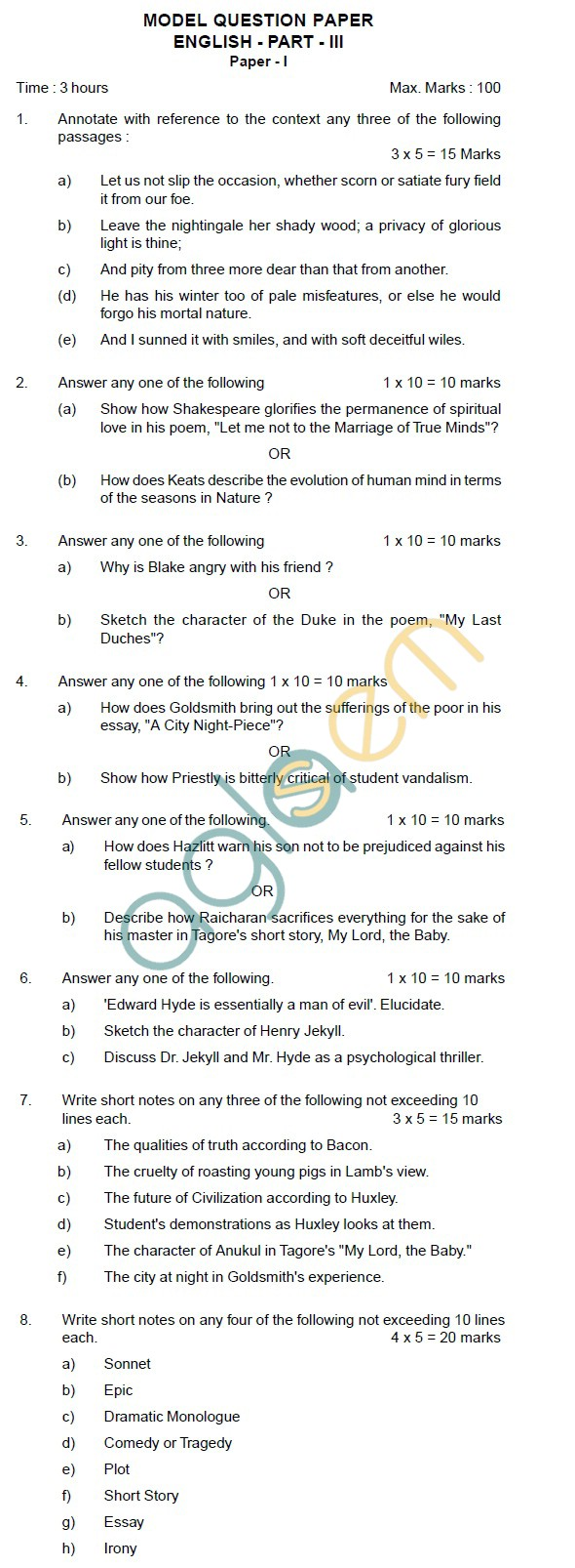 AP Board Intermediate I Year English Model Question Paper