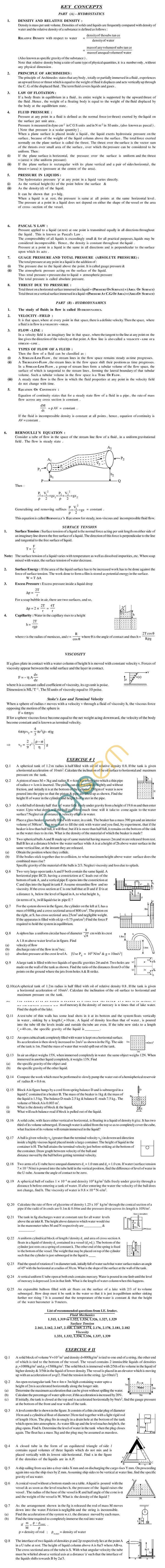 Physics Study Material - Fluid Mechanics