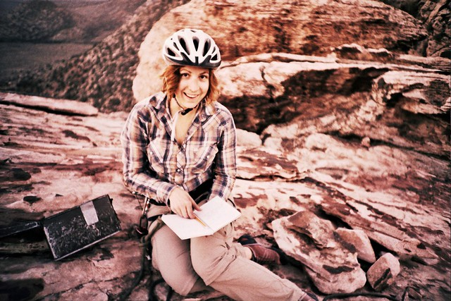 Christine and the climb's log book
