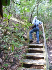 Todd Engstrom climbs up side of steephead ravine