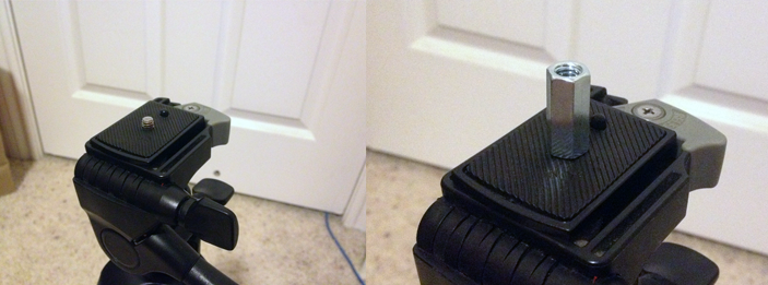 Tripod with 1/4 20 coupling before and after